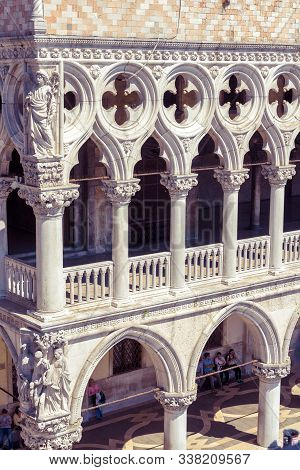 Venice, Italy - May 21, 2017: Doge`s Palace Or Palazzo Ducale In Summer. It Is Famous Tourist Attrac