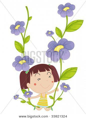 illustration of a girl on flowers - EPS VECTOR format also available in my portfolio.