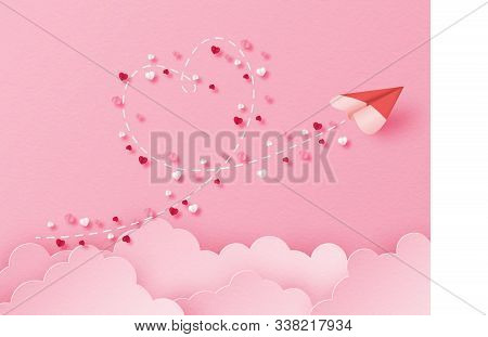Illustration Of Love With A Heart Shape Paper Plane Flying In The Sky In Paper Cut Style. Digital Cr