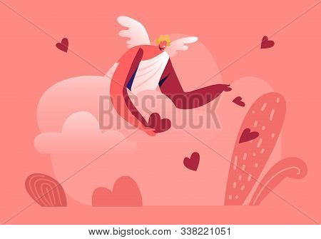 Smiling Cupid Man With Wings Wearing White Toga Throw Red Hearts From Cloudy Sky On Ground. Blonde C