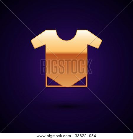 Gold Baby Onesie Icon Isolated On Dark Blue Background. Baby Clothes Symbol. Kid Wear Sign. Vector I