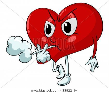 Illustration of a heart smoking - EPS VECTOR format also available in my portfolio.