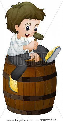 Illlustration of a barrel and boy - EPS VECTOR format also available in my portfolio.