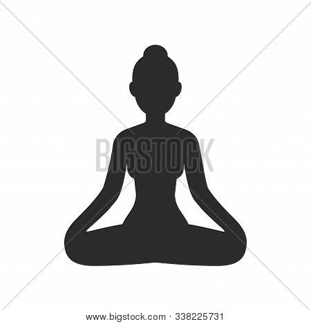 Woman Meditating Sitting In Lotus Pose, Stylized Female Body Silhouette. Simple Vector Icon Isolated