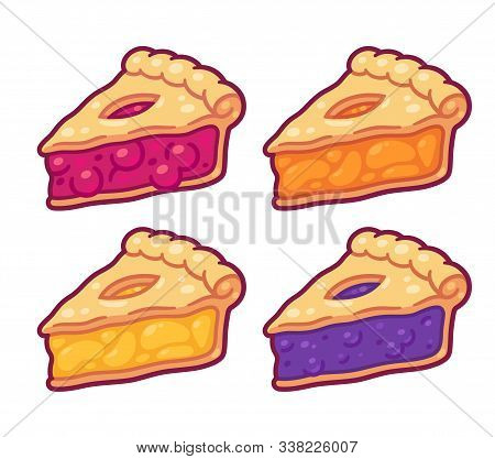 Cute Cartoon Pie Slices Set. Cherry, Bleuberry, Apple And Peach Pie Drawing. Hand Drawn Slice Of Tra