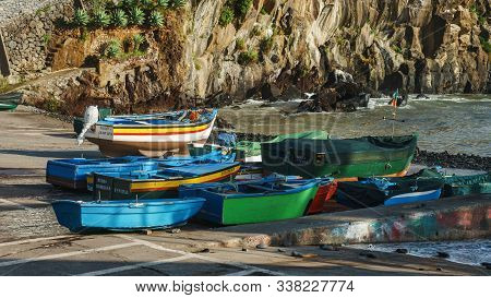 Colourful Sailing Fisher Man Boats In Camara De Lobos Port, Madeira, Portugal, October 10, 2019