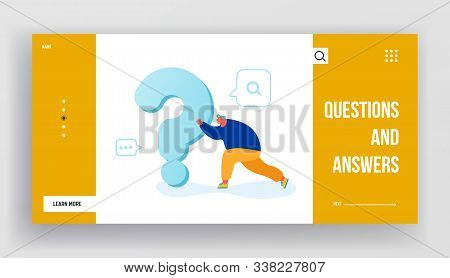 Man Searching Answer Or Solution Website Landing Page. Male Character Pushing Huge Heavy Question Ma