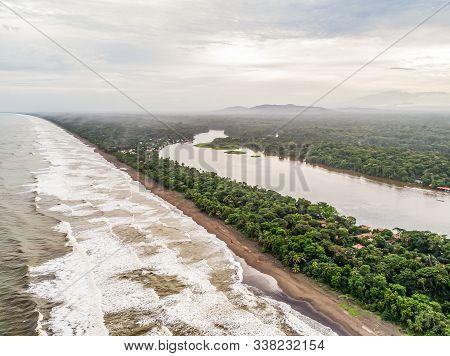Tortuguero National Park Turtle Beach Coast Costa Rica Aerial Plane View