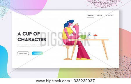 Young Woman Drinking Tea With Cake In Modern Restaurant Website Landing Page. Female Character Visit