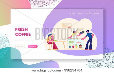 People Visiting Cafe Or Bakehouse Website Landing Page. Saleswoman Stand At Desk With Pastry Giving