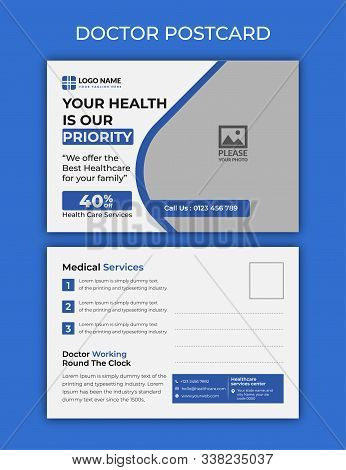 doctor post card . Business templates. Abstract design template, vector layouts in popular formats. Medicine, science, technology concept, doctor, medical worker with medical mirror and stethoscope. Hospital, rescue service.