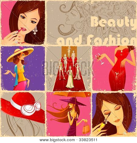 illustration of retro collage of beauty and fashion concept