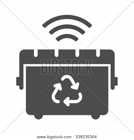 Smart Trash Can Vector Icon Isolated On White Background. Smart Trash Can With Airwaves Icon For Web