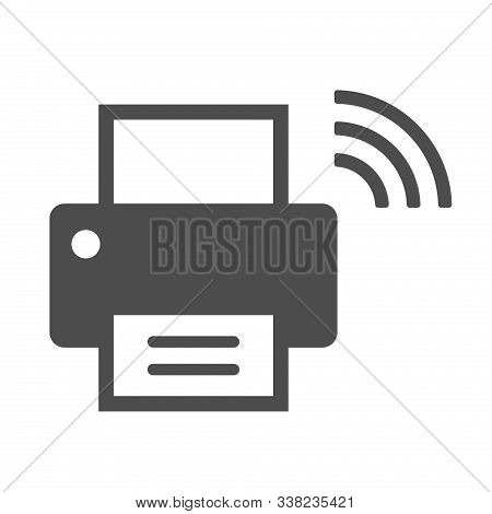 Smart Printer Vector Icon Isolated On White Background. Smart Printer With Wireless Connection Icon