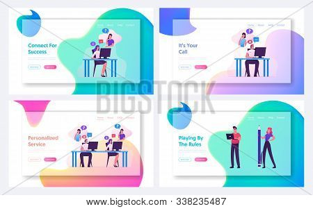 Technical Receptionist Take Client Call, Businesspeople With Laptop And Pen Website Landing Page Set