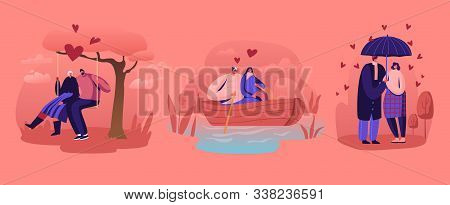 Loving Couples Relations Set. Young People In Love Spend Time Together, Man And Woman Walking Under