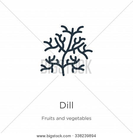 Dill Icon. Thin Linear Dill Outline Icon Isolated On White Background From Fruits And Vegetables Col