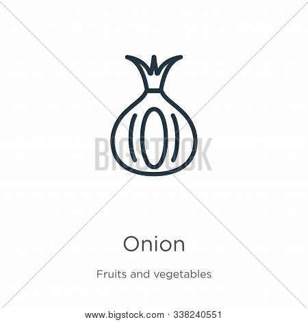 Onion Icon. Thin Linear Onion Outline Icon Isolated On White Background From Fruits Collection. Line