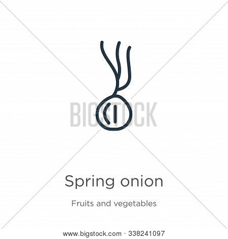 Spring Onion Icon. Thin Linear Spring Onion Outline Icon Isolated On White Background From Fruits Co