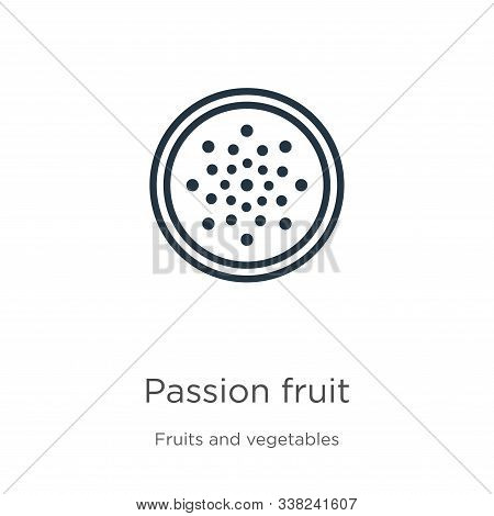 Passion Fruit Icon. Thin Linear Passion Fruit Outline Icon Isolated On White Background From Fruits