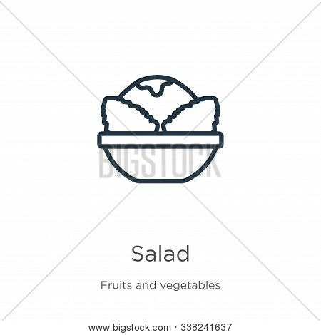 Salad Icon. Thin Linear Salad Outline Icon Isolated On White Background From Fruits Collection. Line