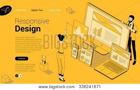 Flat Design Isometric Vector Concept For Ux Ui, Responsive Web Design Development With People Charac