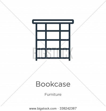 Bookcase Icon. Thin Linear Bookcase Outline Icon Isolated On White Background From Furniture Collect