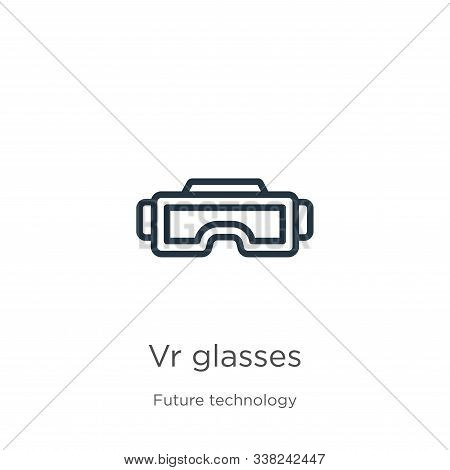 Vr Glasses Icon. Thin Linear Vr Glasses Outline Icon Isolated On White Background From Future Techno