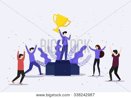 Vector Illustration Concept Of Group Of Business People Character Holding Trophy And Get Reward Stan
