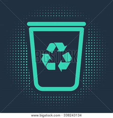 Green Recycle Bin With Recycle Symbol Icon Isolated On Blue Background. Trash Can Icon. Garbage Bin