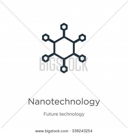 Nanotechnology Icon. Thin Linear Nanotechnology Outline Icon Isolated On White Background From Futur