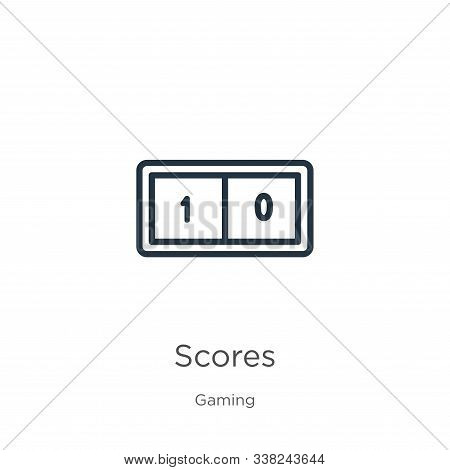 Scores Icon. Thin Linear Scores Outline Icon Isolated On White Background From Gaming Collection. Li
