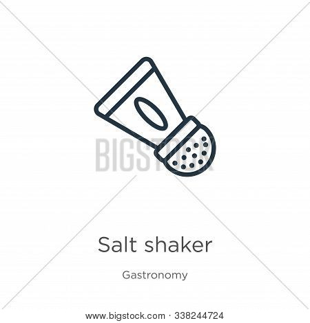 Salt Shaker Icon. Thin Linear Salt Shaker Outline Icon Isolated On White Background From Gastronomy