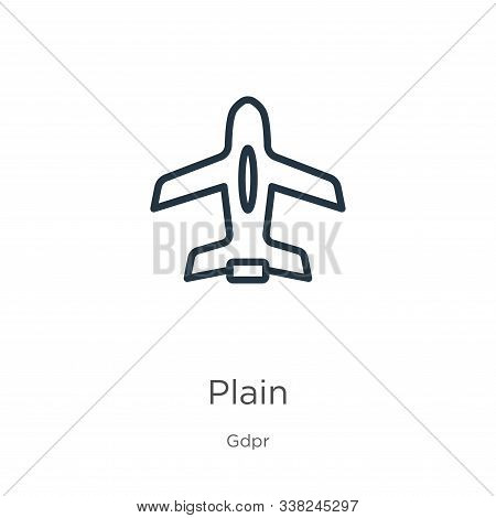 Plain Icon. Thin Linear Plain Outline Icon Isolated On White Background From Gdpr Collection. Line V