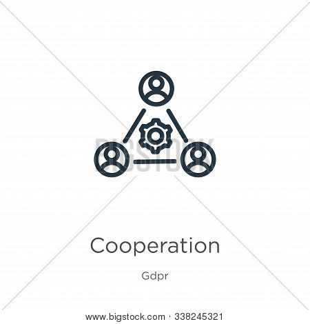 Cooperation Icon. Thin Linear Cooperation Outline Icon Isolated On White Background From Gdpr Collec