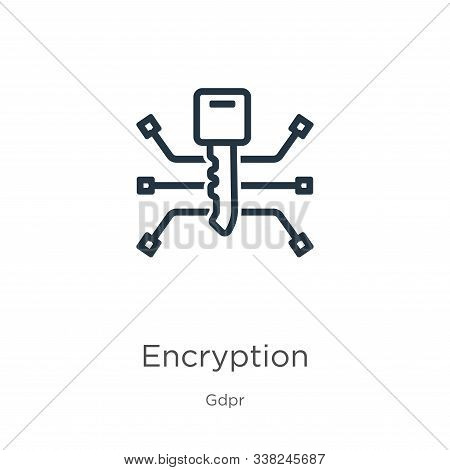 Encryption Icon. Thin Linear Encryption Outline Icon Isolated On White Background From Gdpr Collecti