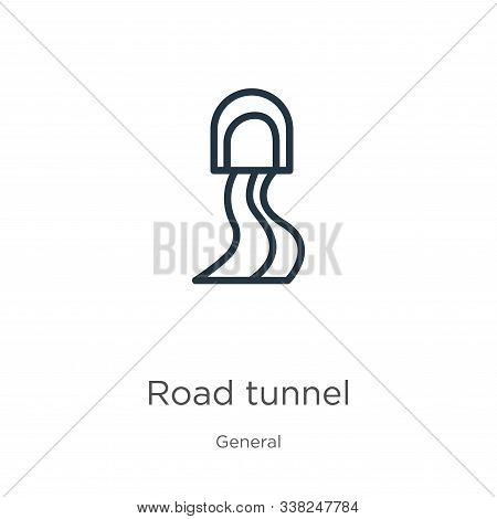 Road Tunnel Icon. Thin Linear Road Tunnel Outline Icon Isolated On White Background From General Col