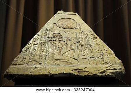 Saint Petersburg, Russia - June 14, 2016: Front View Of Pyramidion From The Tomb Of The Priest Rer I
