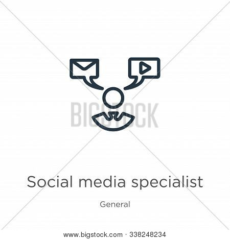 Social Media Specialist Icon. Thin Linear Social Media Specialist Outline Icon Isolated On White Bac