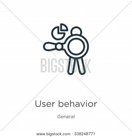 User Behavior Icon. Thin Linear User Behavior Outline Icon Isolated On White Background From General