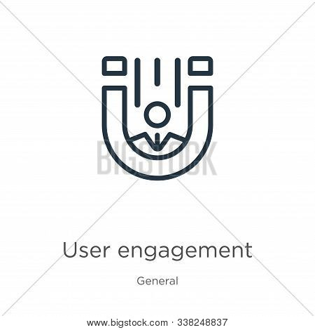 User Engagement Icon. Thin Linear User Engagement Outline Icon Isolated On White Background From Gen