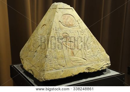 Saint Petersburg, Russia - June 14, 2016: Pyramidion From The Tomb Of The Priest Rer In Abydos, Egyp