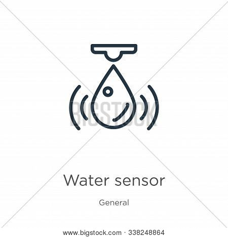 Water Sensor Icon. Thin Linear Water Sensor Outline Icon Isolated On White Background From General C