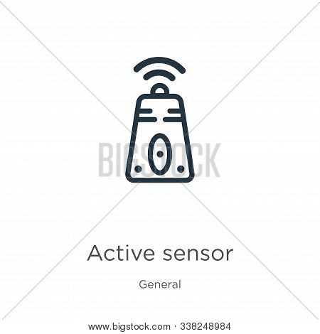 Active Sensor Icon. Thin Linear Active Sensor Outline Icon Isolated On White Background From General