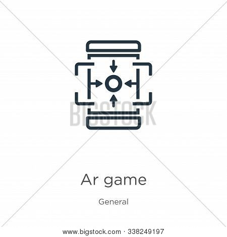 Ar Game Icon. Thin Linear Ar Game Outline Icon Isolated On White Background From General Collection.