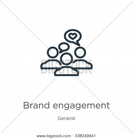 Brand Engagement Icon. Thin Linear Brand Engagement Outline Icon Isolated On White Background From G