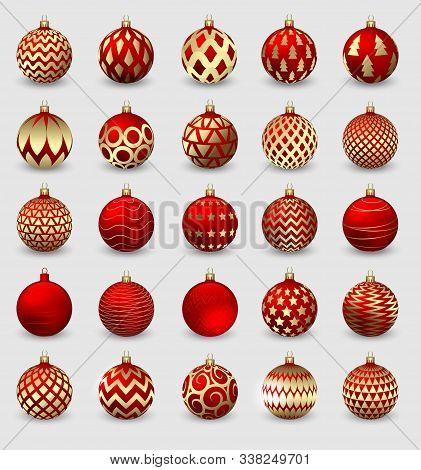 Set Of Decorative Christmas Balls Isolated On White Background, Illustration.