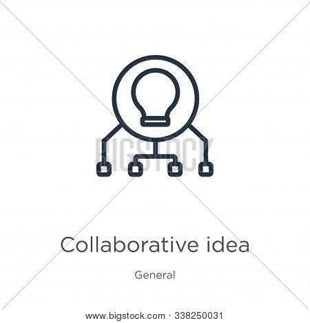 Collaborative Idea Icon. Thin Linear Collaborative Idea Outline Icon Isolated On White Background Fr
