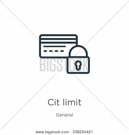Credit Limit Icon. Thin Linear Credit Limit Outline Icon Isolated On White Background From General C