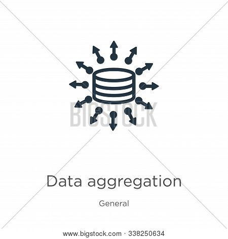 Data Aggregation Icon. Thin Linear Data Aggregation Outline Icon Isolated On White Background From G